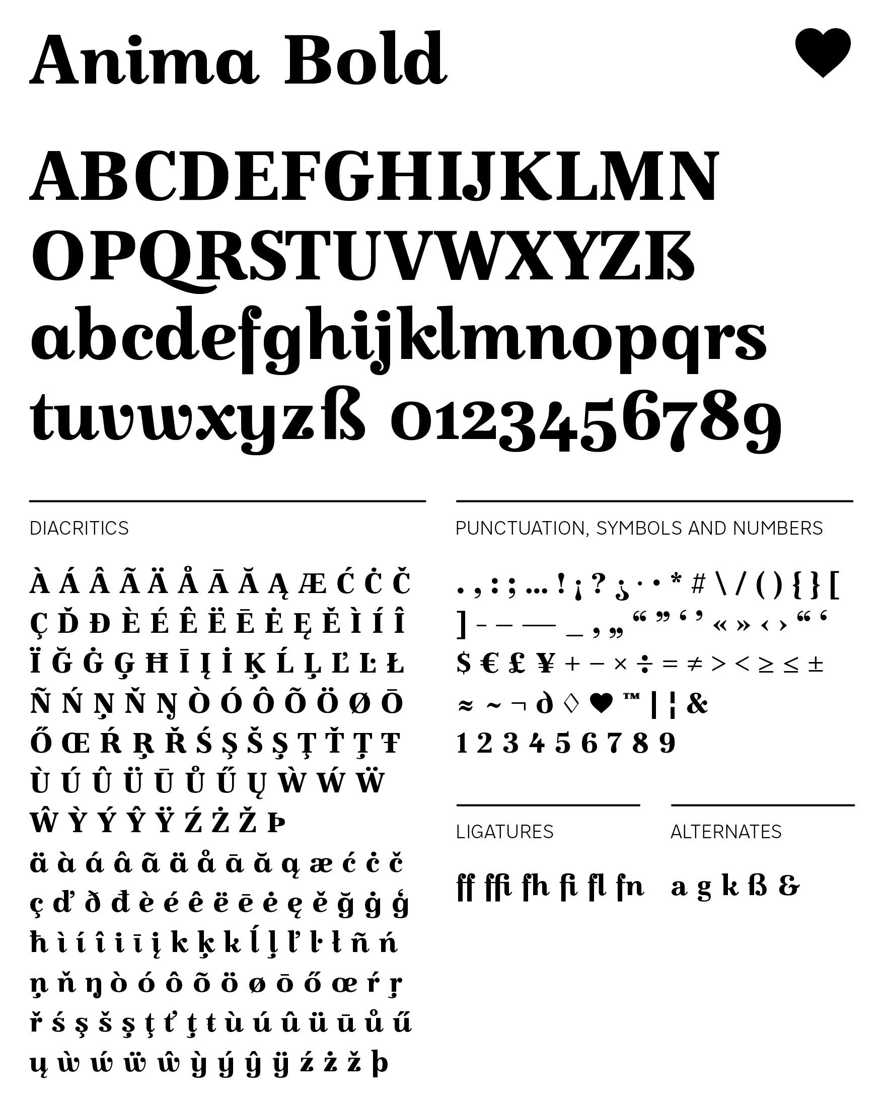 Type - Anima Bold - Glyphs